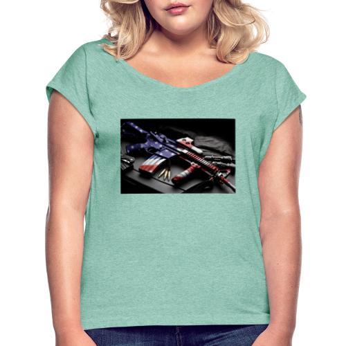 American Gangster - Frauen T-Shirt mit gerollten Ärmeln