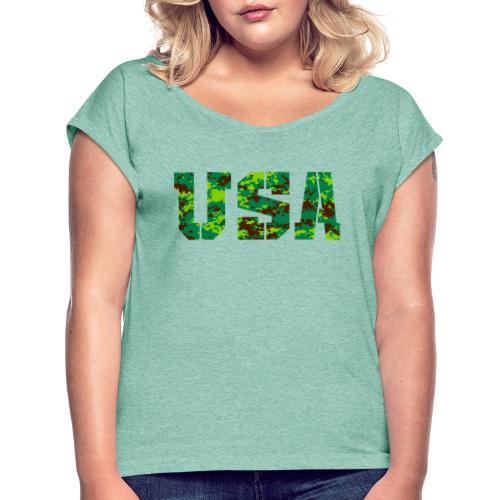 USA digital camo - Vrouwen T-shirt met opgerolde mouwen