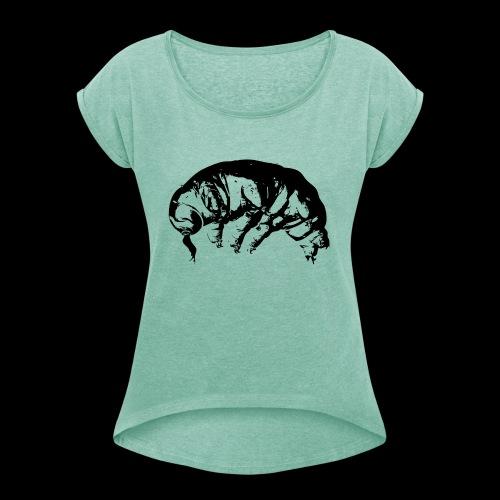 Ba rtierchen s w v2 schw transp gegraedet - Frauen T-Shirt mit gerollten Ärmeln