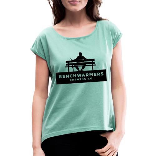 Benchwarmers logo - T-shirt med upprullade ärmar dam