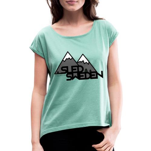 SledSweden Logo - T-shirt med upprullade ärmar dam