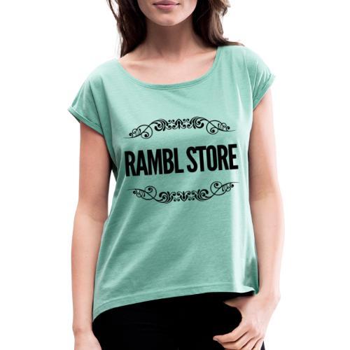 WROR9701 1 - T-shirt med upprullade ärmar dam