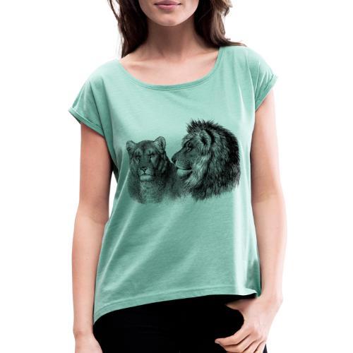 lion - Frauen T-Shirt mit gerollten Ärmeln