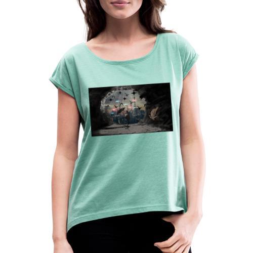Schatten - Frauen T-Shirt mit gerollten Ärmeln