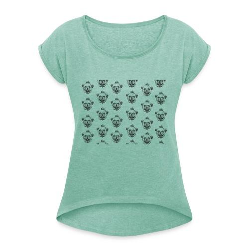 Mops mit Krone Muster Maske Hund - Frauen T-Shirt mit gerollten Ärmeln