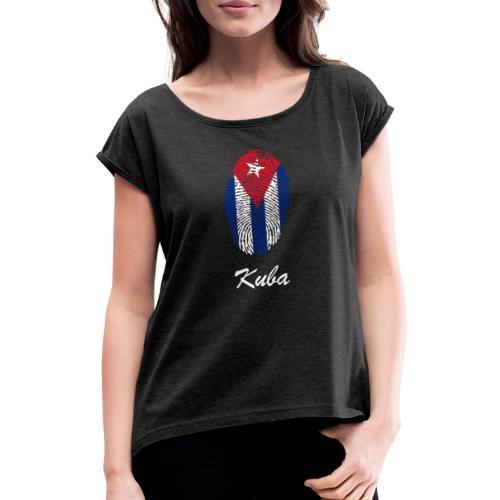 Kuba Fingerabdruck - Frauen T-Shirt mit gerollten Ärmeln