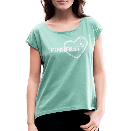 Finnfest white - Naisten T-paita, jossa rullatut hihat