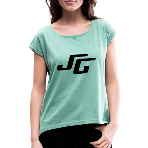 JG Logo schwarz - Frauen T-Shirt mit gerollten Ärmeln