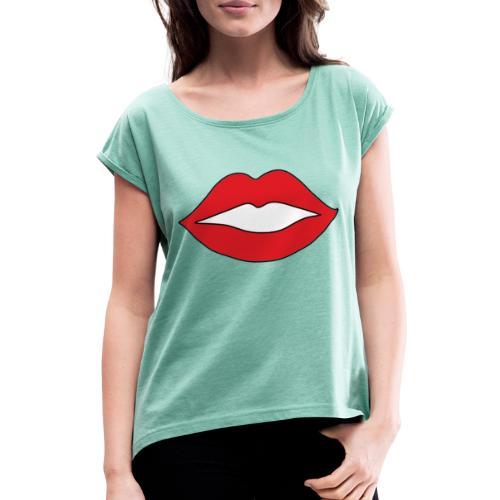 Rote Lippen Mund - Frauen T-Shirt mit gerollten Ärmeln