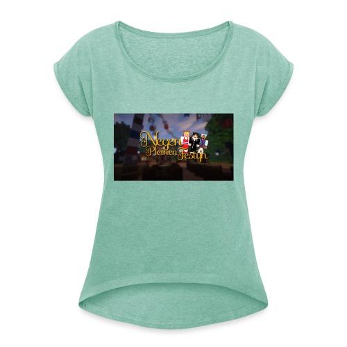 Posterlogo2 - Vrouwen T-shirt met opgerolde mouwen