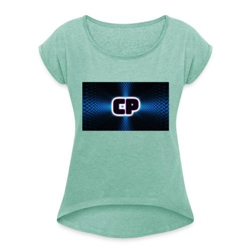 logo club pingvin - T-skjorte med rulleermer for kvinner