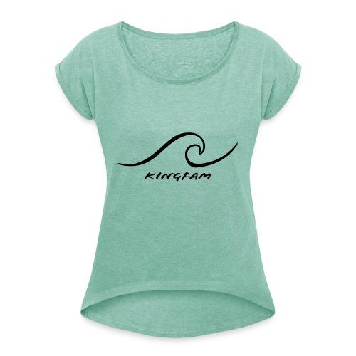 eyy - T-shirt med upprullade ärmar dam
