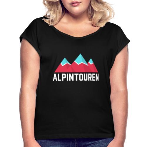 Alpintouren Logo - Frauen T-Shirt mit gerollten Ärmeln