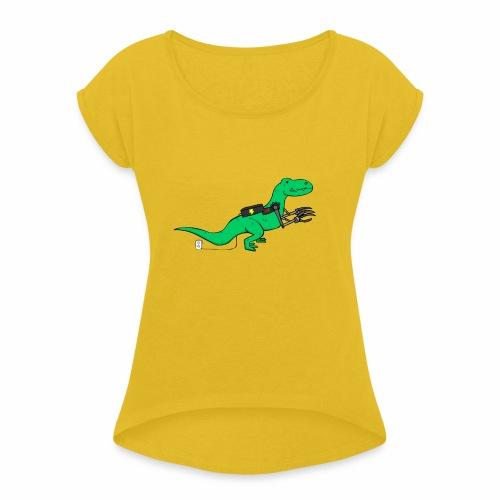 cyborgsaurusprint - Vrouwen T-shirt met opgerolde mouwen