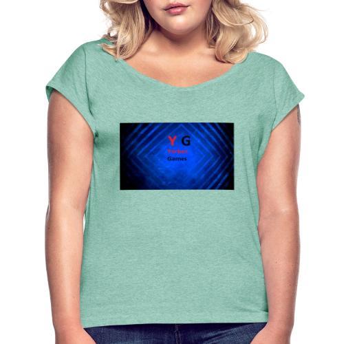 alles met de logo van yorben games - Vrouwen T-shirt met opgerolde mouwen