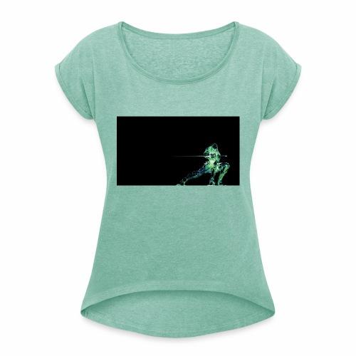 green ninja from PDCM - Vrouwen T-shirt met opgerolde mouwen