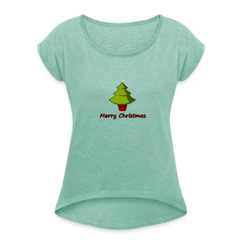 Merry Christmas Design von HoHoHo Merch - Frauen T-Shirt mit gerollten Ärmeln