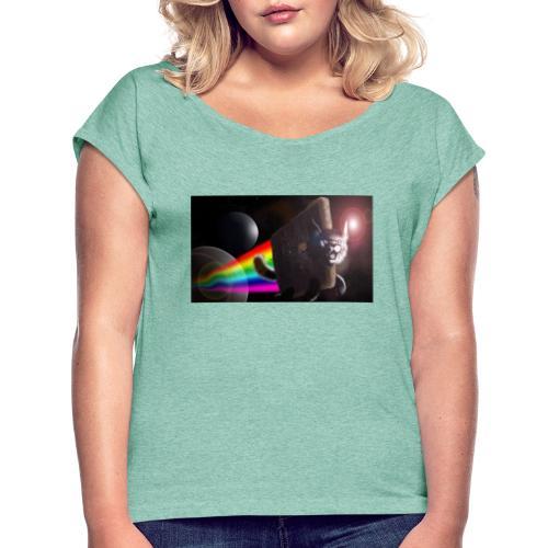 epic - T-shirt med upprullade ärmar dam