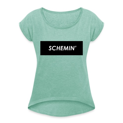 SCHEMIN' Black/White colour way - Women's T-Shirt with rolled up sleeves