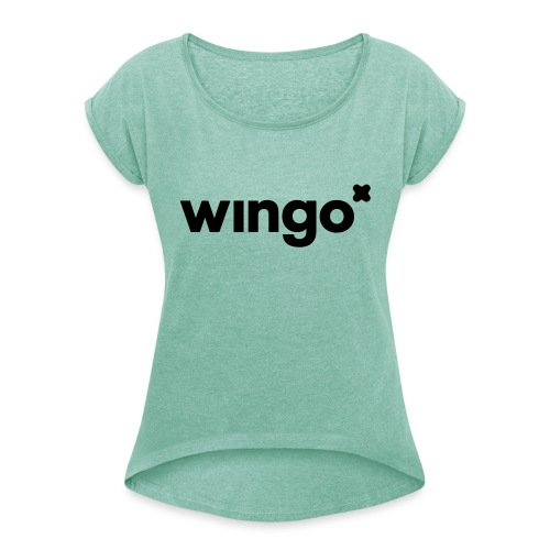 wingo logo mono - Women's T-Shirt with rolled up sleeves