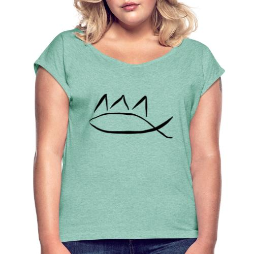 jesus king - Koszulka damska z lekko podwiniętymi rękawami