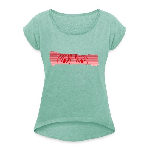 abderyckie linie - Koszulka damska z lekko podwiniętymi rękawami