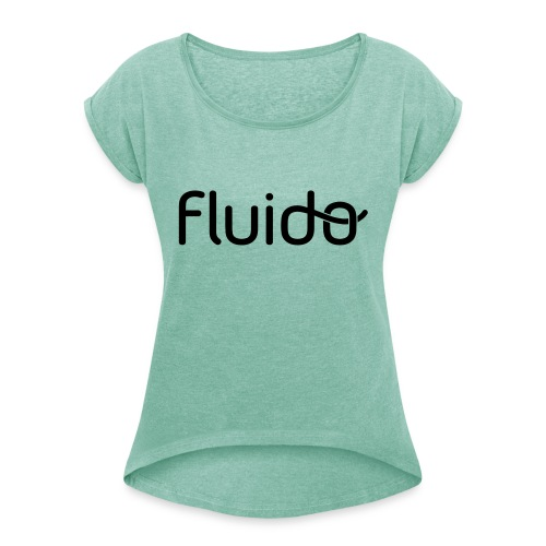 fluidologo_musta - Naisten T-paita, jossa rullatut hihat