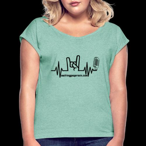 Logo + site noir - T-shirt à manches retroussées Femme