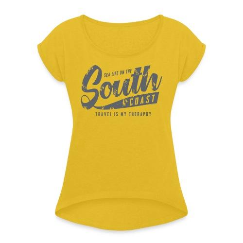 South Coast Sea surf clothes and gifts GP1305B - Naisten T-paita, jossa rullatut hihat
