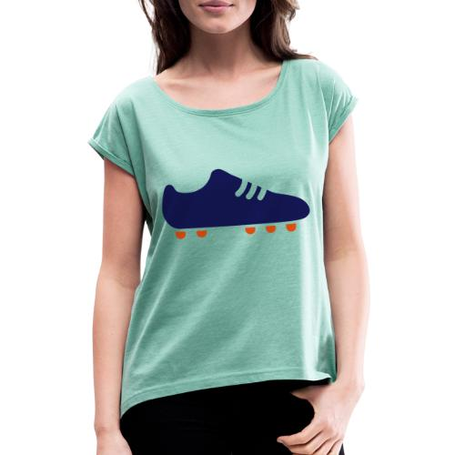 footBALL boot - Women's T-Shirt with rolled up sleeves