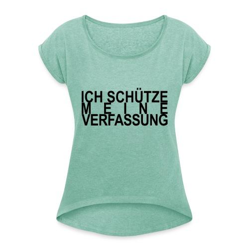 WORTKunstwort 21.4 - Frauen T-Shirt mit gerollten Ärmeln