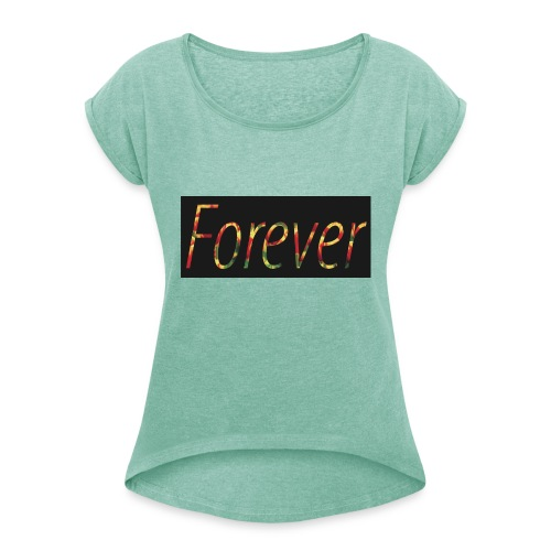 Forever Clothing Black Flowers T-shirt Men - Vrouwen T-shirt met opgerolde mouwen