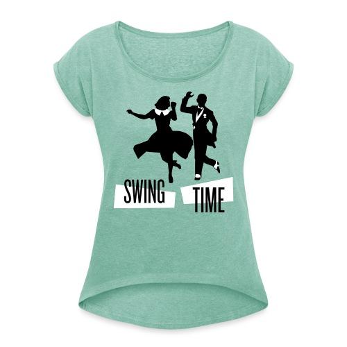 swingtime tshirt 01 - Dame T-shirt med rulleærmer