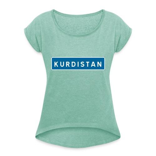 Kurdistanskylt - T-shirt med upprullade ärmar dam
