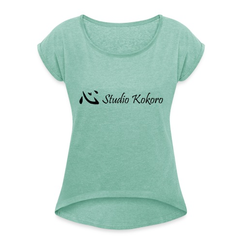 Studio Kokoro t-shirt logo and name - Women's T-Shirt with rolled up sleeves
