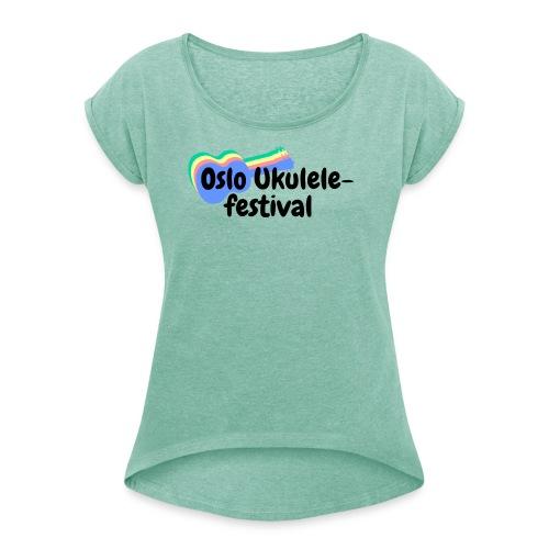 Festival-logo i flere farger - T-skjorte med rulleermer for kvinner