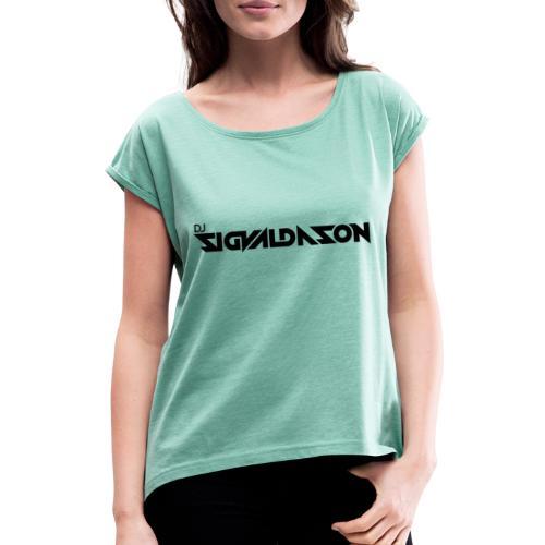DJ logo sort - Dame T-shirt med rulleærmer
