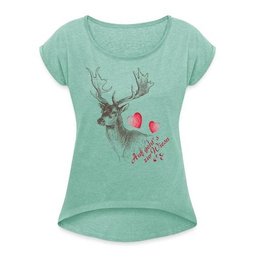 Auf geht´s zur Wiesn - Frauen T-Shirt mit gerollten Ärmeln