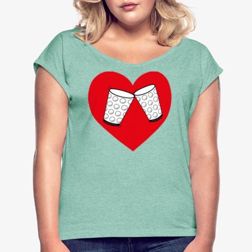 Schorle Liebe – Dubbegläser - Frauen T-Shirt mit gerollten Ärmeln