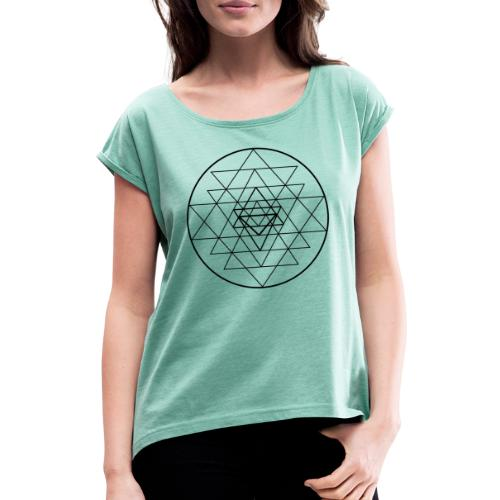 Sri Yantra - black and white - Dame T-shirt med rulleærmer