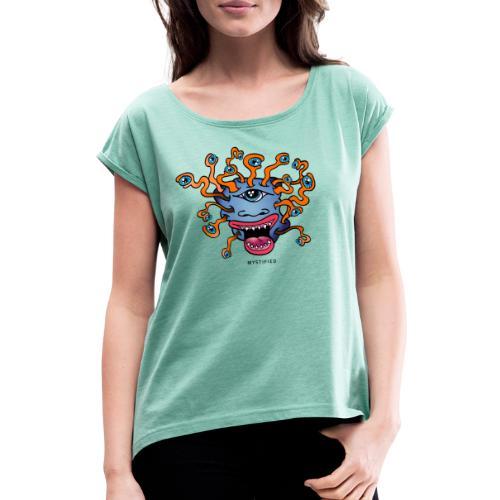 Mystified Eyeball Monster - Vrouwen T-shirt met opgerolde mouwen