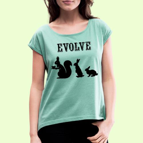 EvolveBunny - Vrouwen T-shirt met opgerolde mouwen