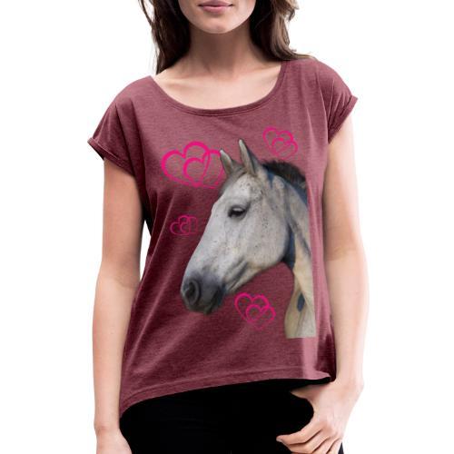 Hästälskare (maya) - T-shirt med upprullade ärmar dam