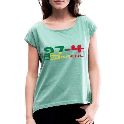 Logo 974 ker kreol VJR, rastafari - T-shirt à manches retroussées Femme