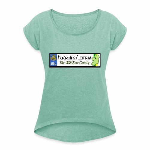 LEITRIM, IRELAND: licence plate tag style decal eu - Women's T-Shirt with rolled up sleeves