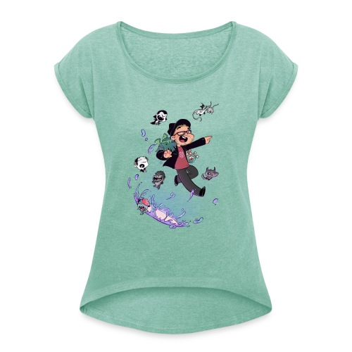 GillusZG - T-shirt à manches retroussées Femme
