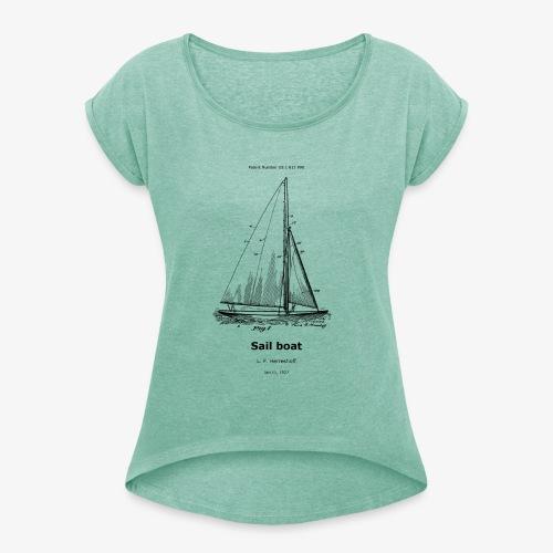 Sail boat - Frauen T-Shirt mit gerollten Ärmeln