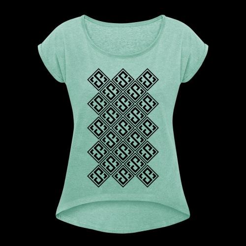 Skylicious pattern - Koszulka damska z lekko podwiniętymi rękawami