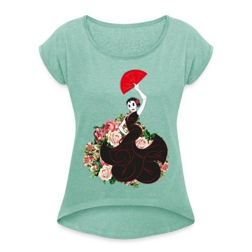 flamenca flor - Camiseta con manga enrollada mujer