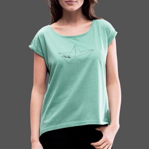 Papierboot Sailing Benko Papierschiff Faltboot - Frauen T-Shirt mit gerollten Ärmeln